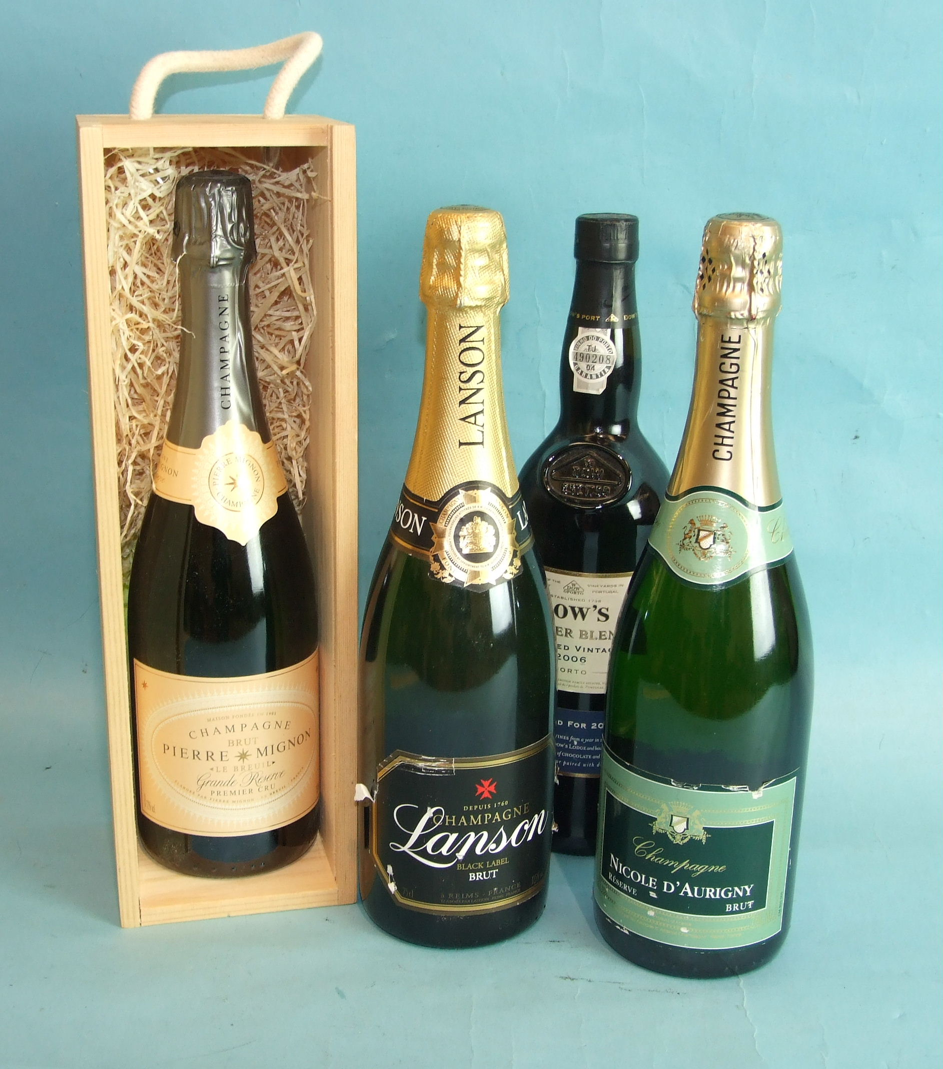 Lot 1 - Three botles of non-vintage Champagne: Lanson Black Label, Nicole D'Aurigny, Pierre Mignon (boxed)