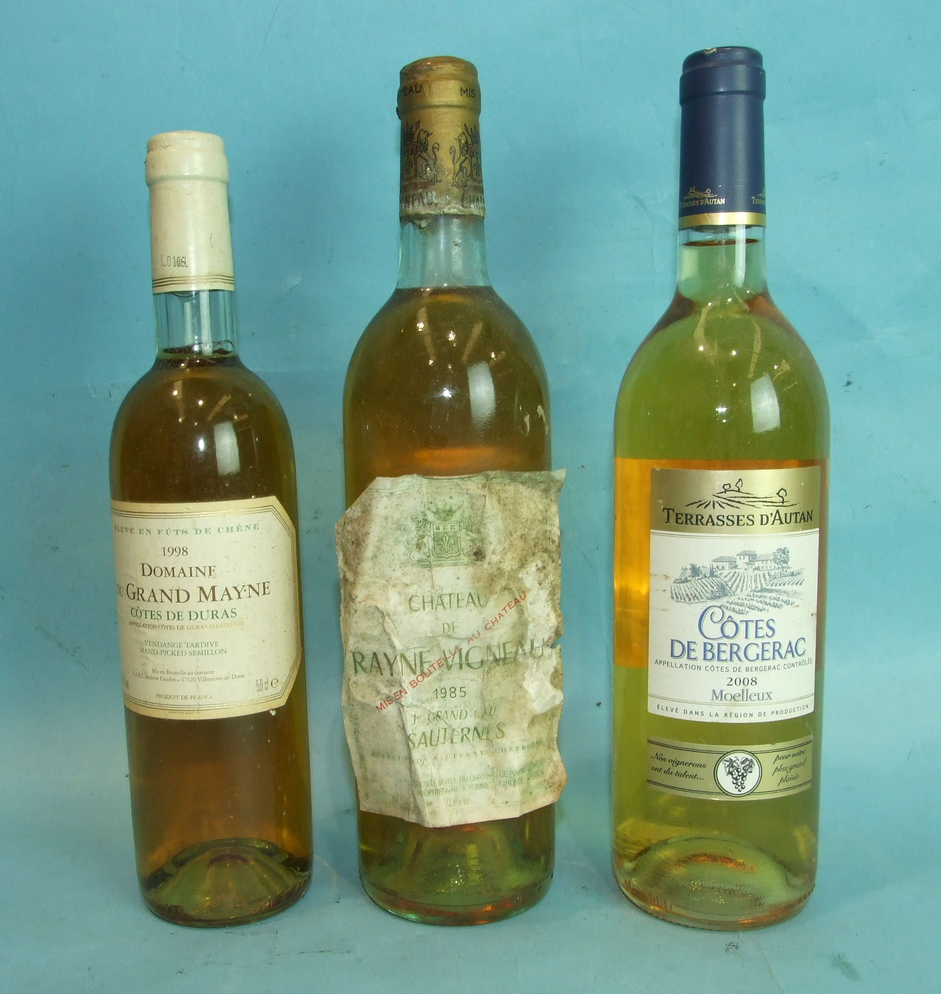 Lot 37 - Chateau De Rayne Vigneau 1er Grand Cru Sauternes 1985, one bottle and two others, (3).