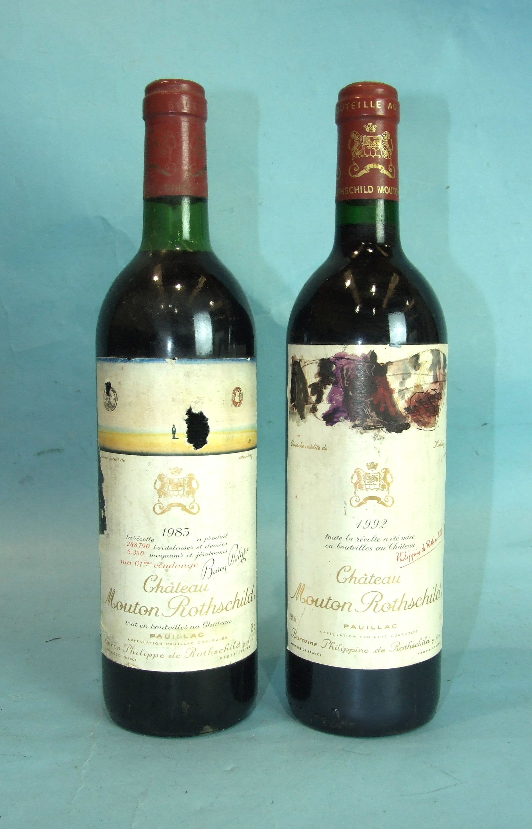 Lot 18 - Chateau Mouton Rothschild 1983 Premier Grand Cru Classé Bordeaux, one bottle and another of 1992
