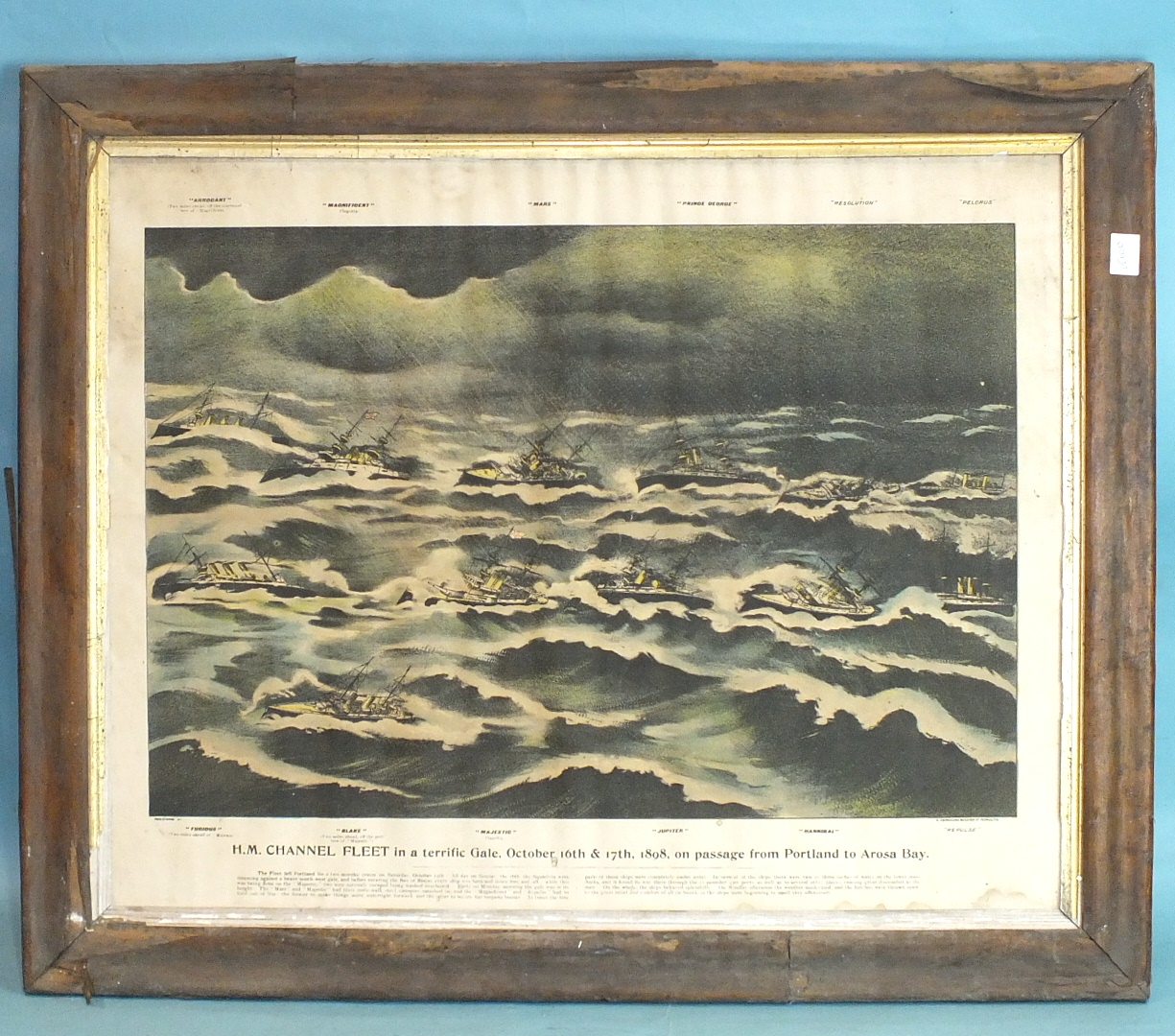 Lot 246 - A 19th century wool-work picture depicting HMS Revenge, a three-masted warship flying a white ensign