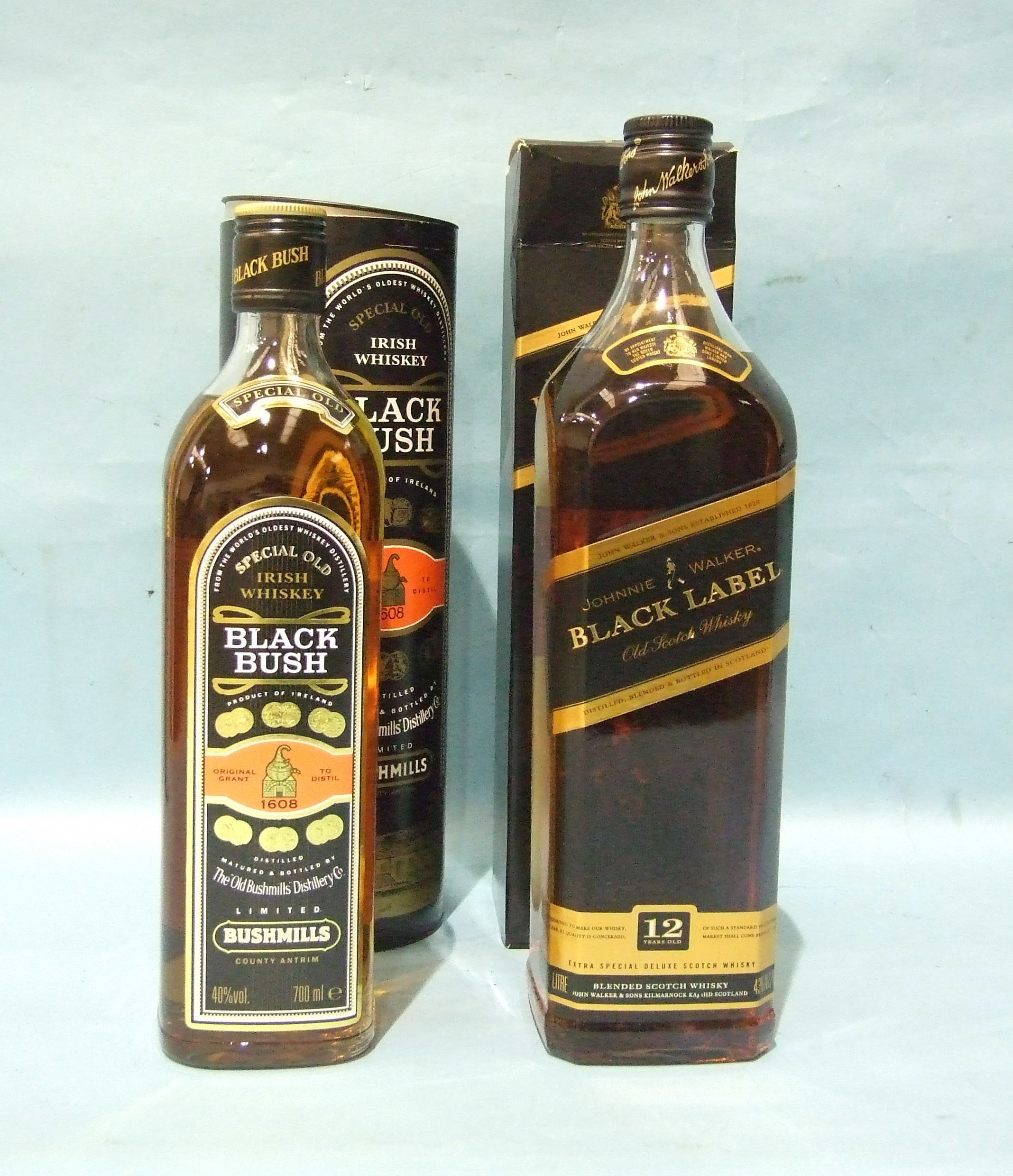 Lot 44 - Johnnie Walker 12-year-old Black Label Blended Whisky, 43% vol, 1L, in carton and a bottle of