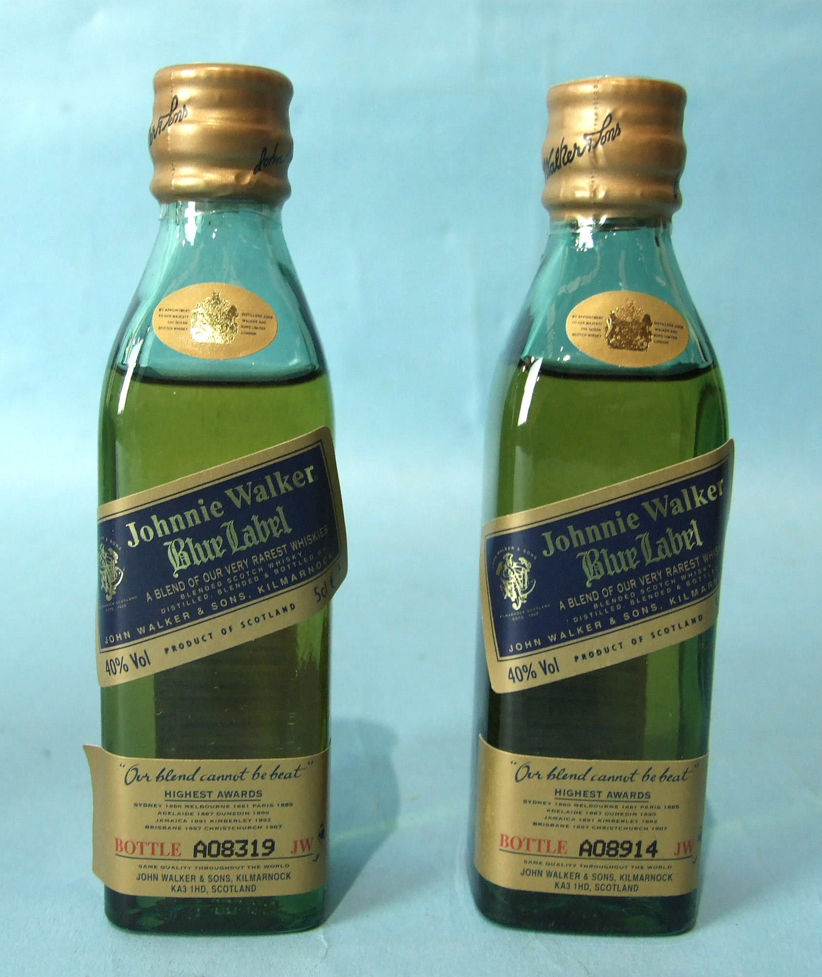 Lot 51 - Johnnie Walker, two Blue Label Scotch Whisky miniatures, no.s A08914 and A08319, 40% vol, 5cl, in