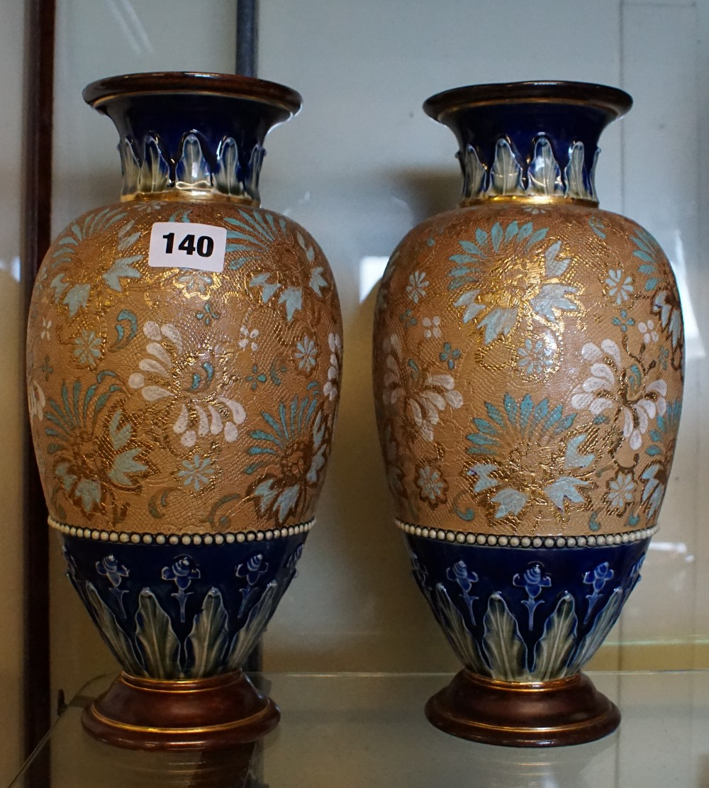 Pair Of Royal Doulton Slaters Patent Stoneware Vases Impressed Number 4461 Floral Decoration In S