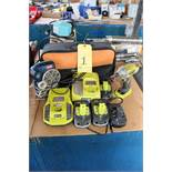 LOT CONSISTING OF: Ryobi Barrey impact wrench, (4) rechargeable batteries, (2) chargers, battery