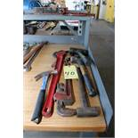 """LOT CONSISTING OF: 18"""" pipe wrench, 24"""" chain tong wrench & hammers"""