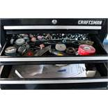 LOT CONSISTING OF: Craftsman 3-drawer top box & Kennedy 5-drawer bottom rolling box & contents