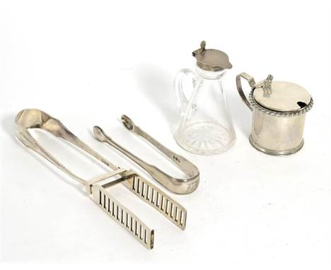 A Group of Mixed Silver Items, various makers, comprising: a whisky noggin by Asprey, 1919; a pair of asparagus tongs, 1901;