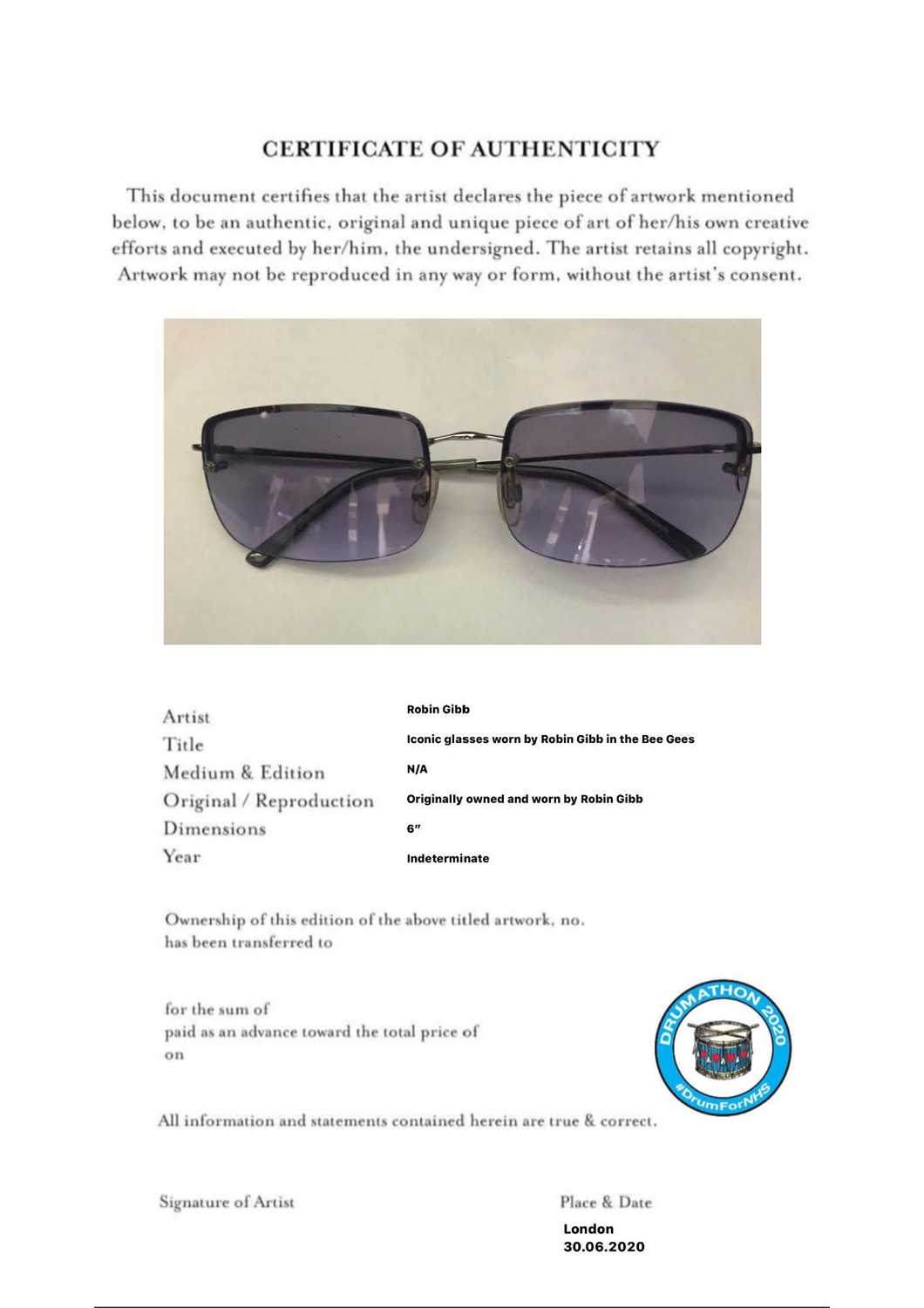 Robin Gibb (The Bee Gees) glasses Robin's son RJ has donated to this amazing cause his fathers - Image 10 of 10