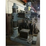 "RADIAL ARM DRILL, TOA 3' X 9"" MDL. TRD-800C, spds: 84-1384 RPM, plain box table, pwr. elevation"