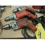 "LOT OF ELECTRIC DRILLS, MILWAUKEE 1/2"", H.D., 120 v. (3)"