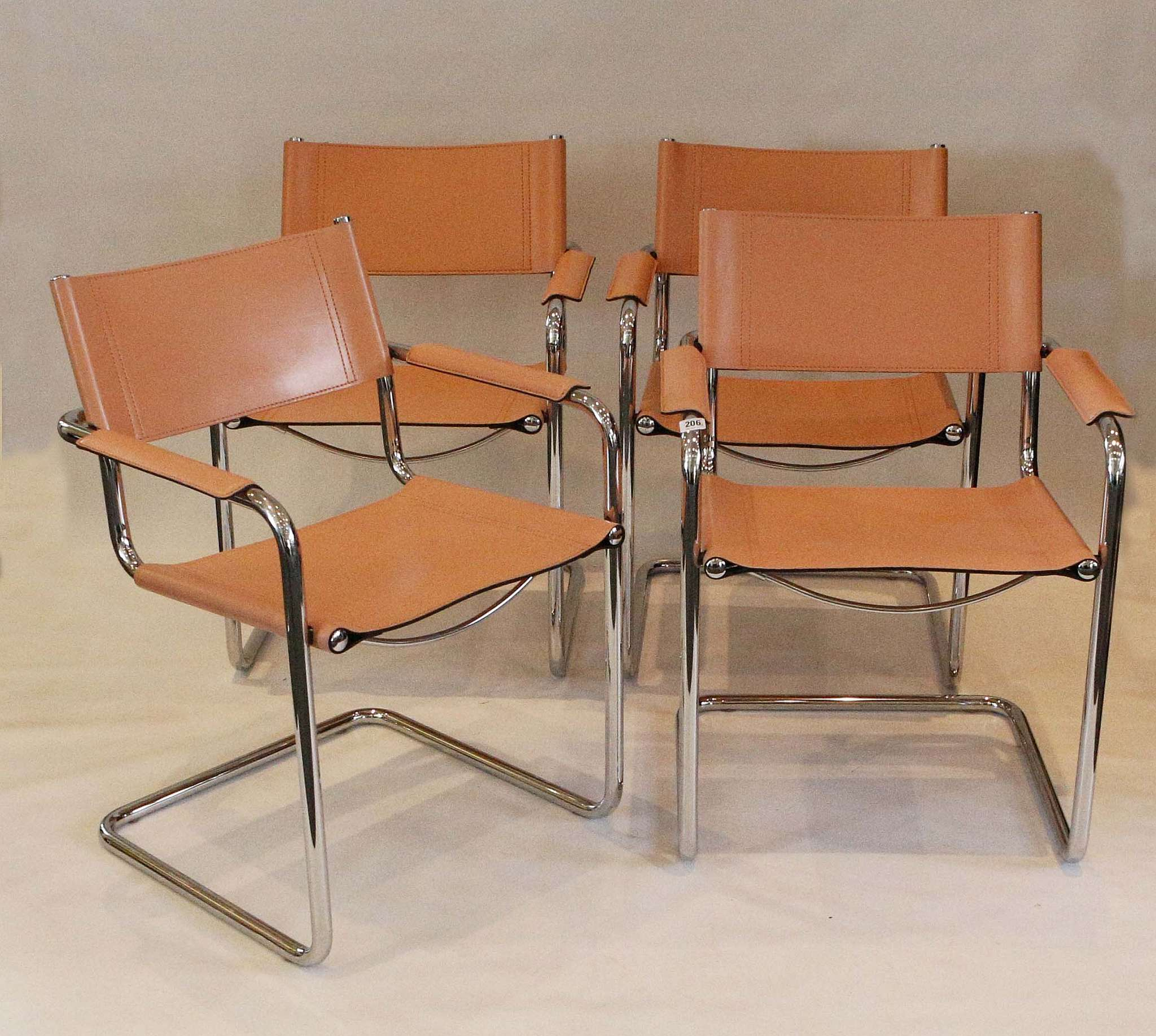A Set Of Six Mg5 Dining Chair By Centra Studi For Matteo Grassi Italy Blush Leather On Chrome F