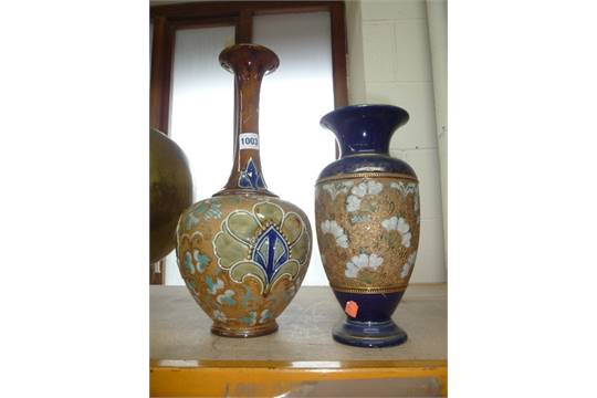 A Royal Doulton Stoneware Vase Impressed Factory Mark And Stamped