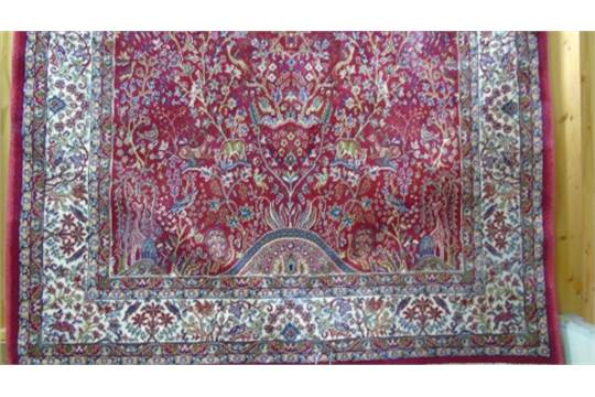 A Red Ground Kashmir Rug Tree Of Life Design 6ft X 4ft