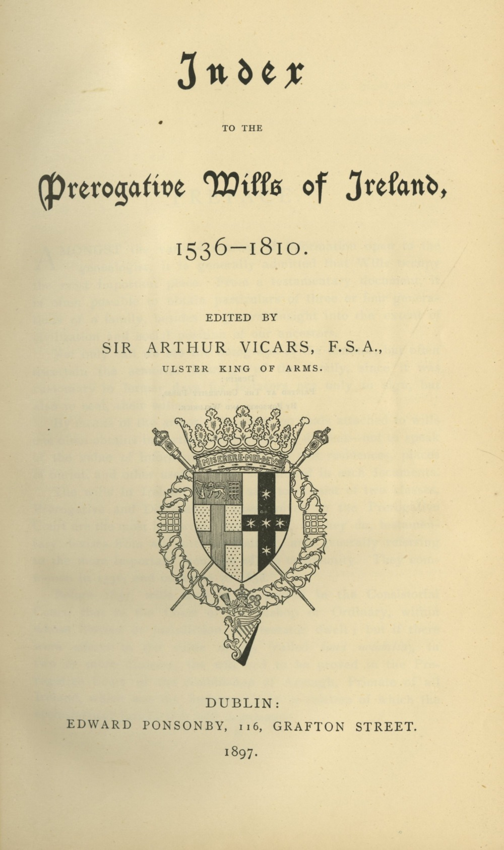 Vicars (Sir A.) Index to the Prerogative Wills of Ireland, 1536 - 1810, roy 8vo D. 1897. - Image 3 of 3