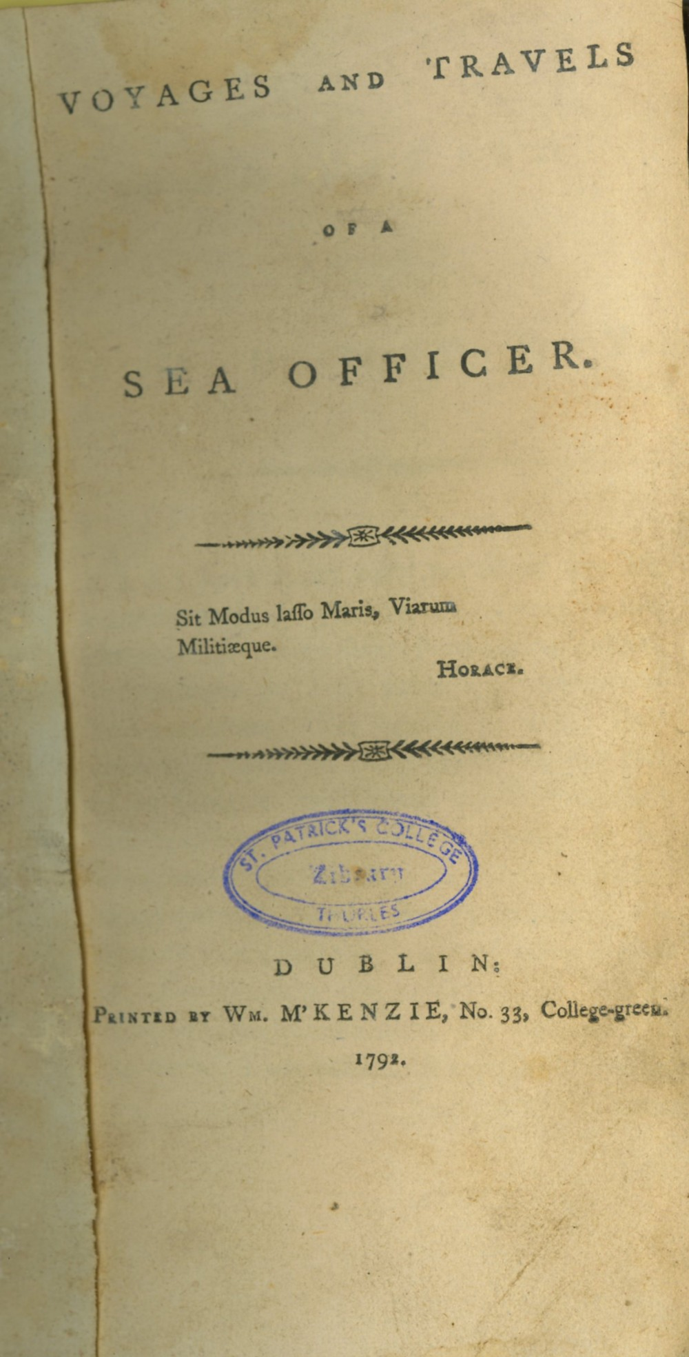 [Vernon (Francis V.)] Voyages and Travels of a Sea Officer, 8vo D. (Wm. M'Kenzie) 1792. First Edn.