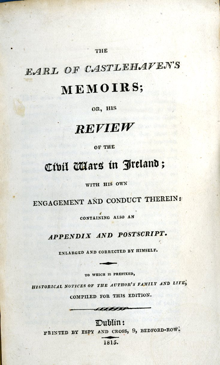 [Touchet (James)] The Earl of Castlehaven's Memoirs or, His Review of the Civil Wars in Ireland;...