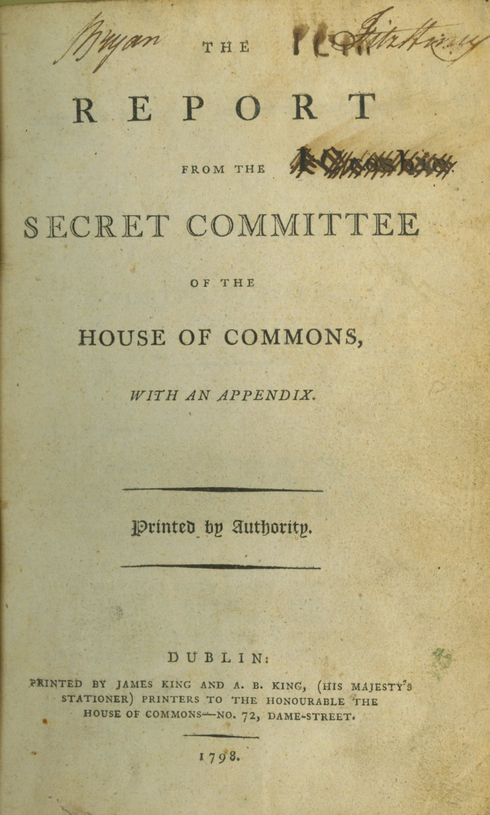 [1798 Interest] Report of Committee of Secrecy of the House of Commons,