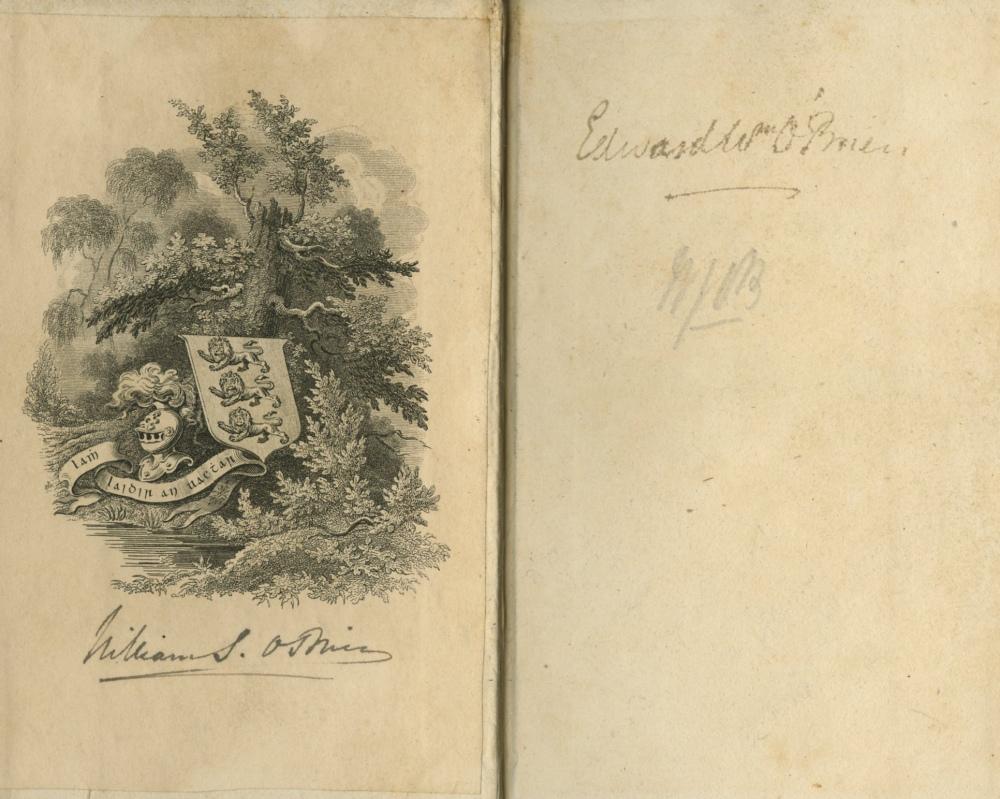 Inscribed - William Smith O'Brien's Copy Crebillon - Oeuvres, 3 vols. 24mo Paris 1833, hf. - Image 2 of 2