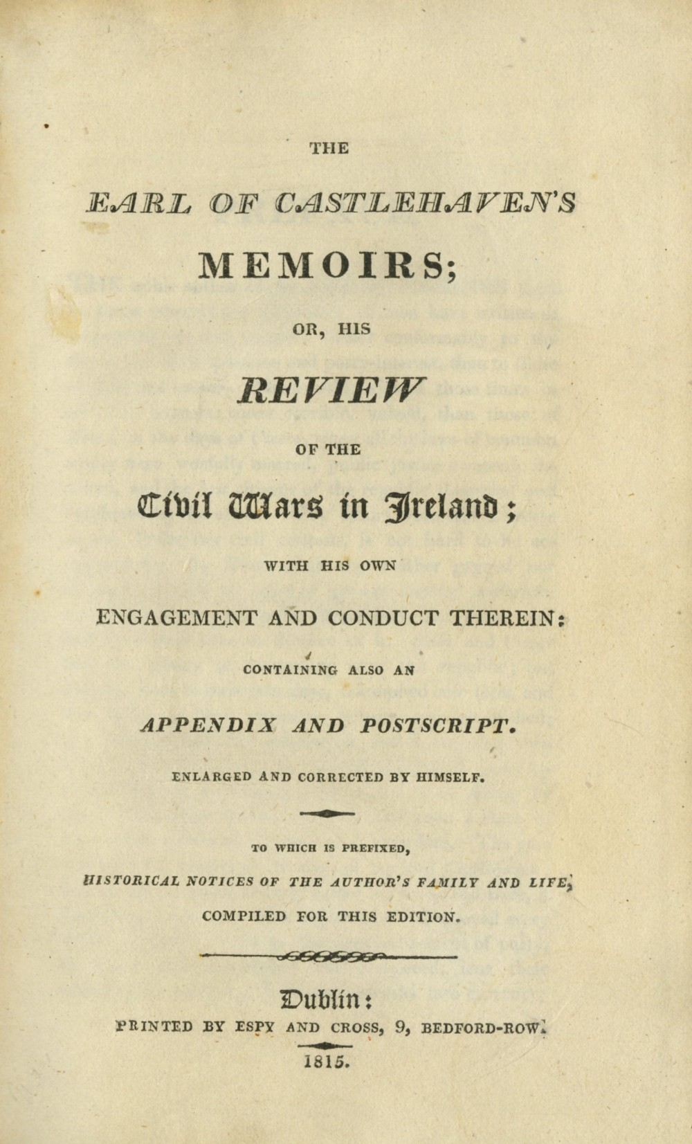 [Touchet (James)] The Earl of Castlehaven's Memoirs or, His Review of the Civil Wars in Ireland;... - Image 2 of 2
