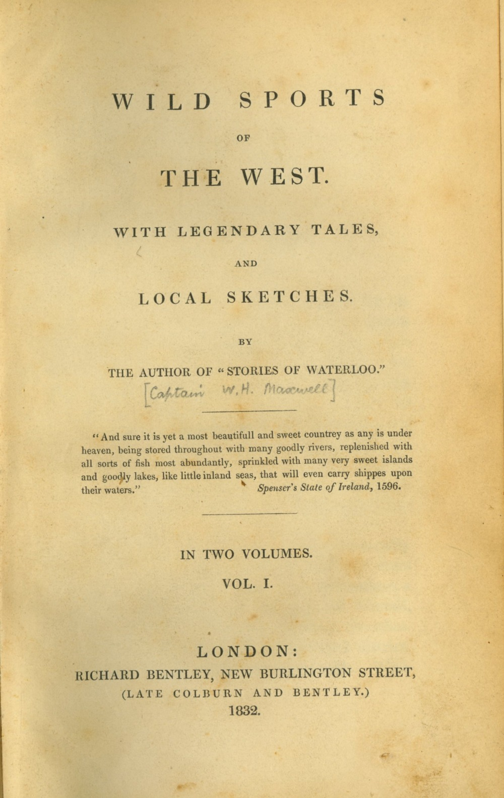Maxwell (Capt. W.H.) Wild Sports of the West, 2 vols. 8vo L. 1832. First, 5 plts. & text illus.
