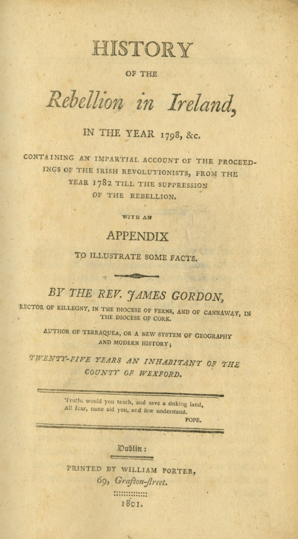 Lot 15 - 1798: Gordon (Rev. James) History of the Rebellion Ireland in the Year 1798, 8vo D. (Wm.