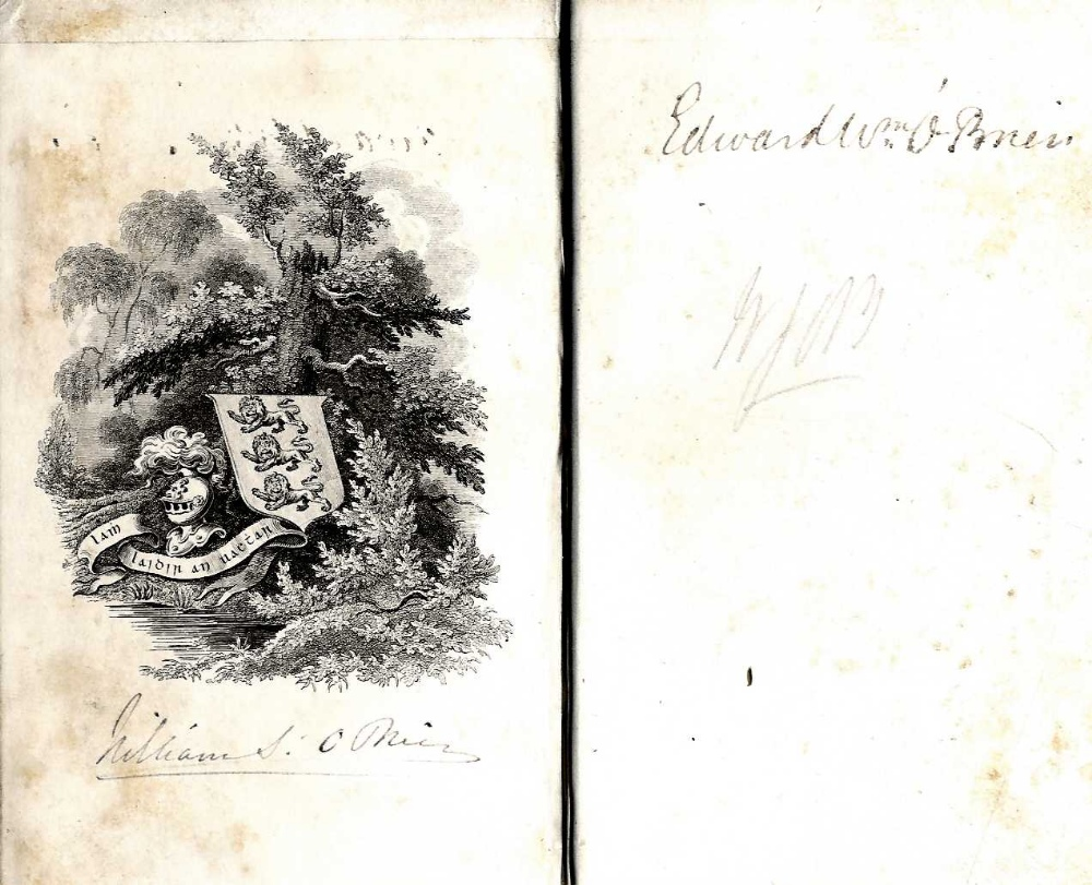 Inscribed - William Smith O'Brien's Copy Crebillon - Oeuvres, 3 vols. 24mo Paris 1833, hf.