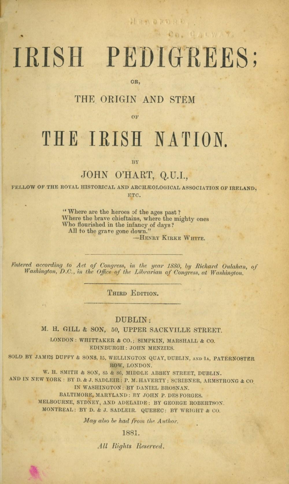 Lot 52 - O'Hart (John) Irish Pedigrees: D. 1881, Third; Perraud (Fr. A.) Ireland Under English Rule, D.