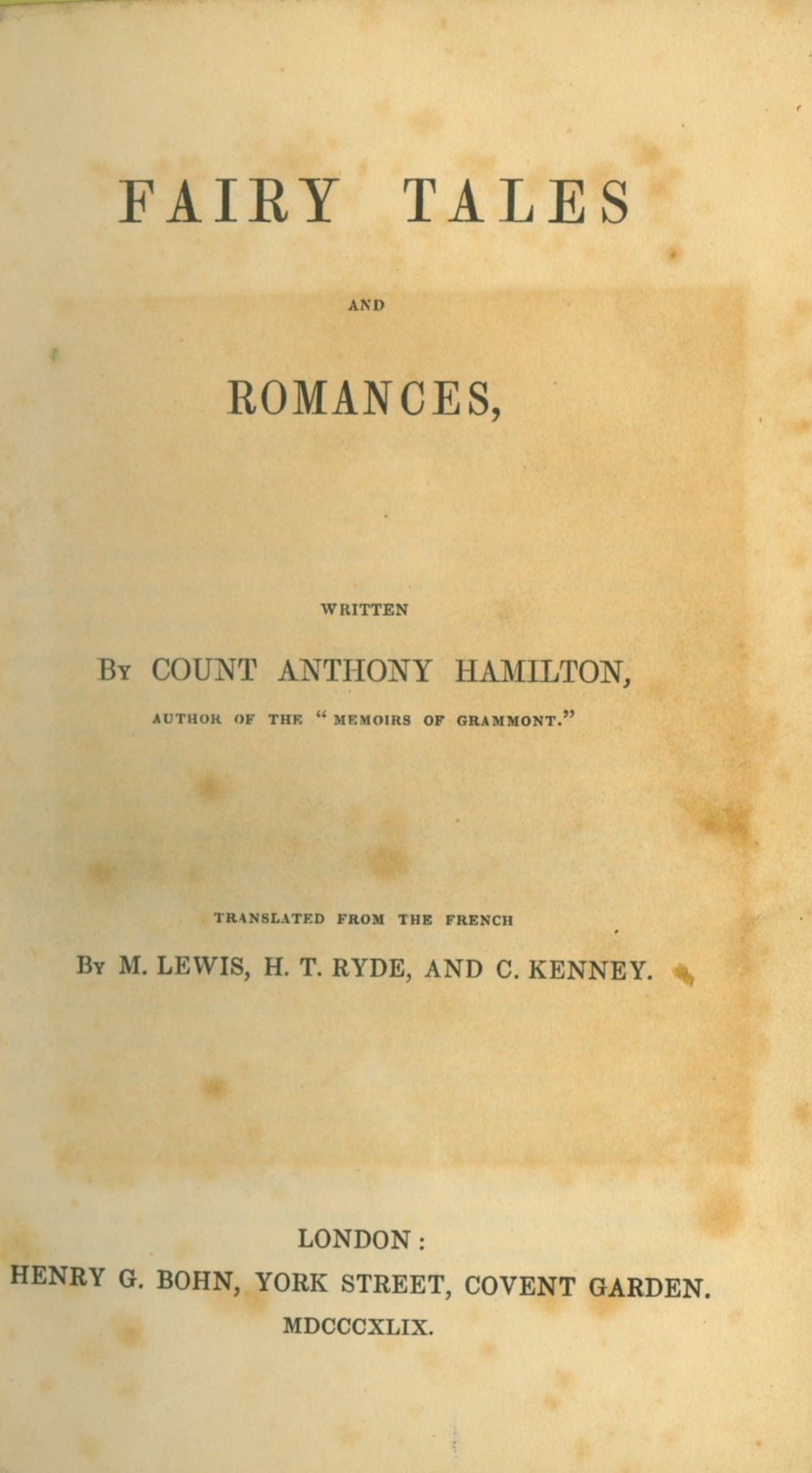 Hamilton (Count Anthony) Fairy Tales and Romances, 8vo L. 1849. Engd. ports, cont. hf. mor.