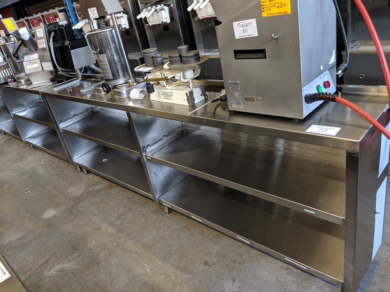 """Lot 57 - 8 ft x 15"""" Wide Custom Built 3 Tier Stainless Steel Servery Counter"""