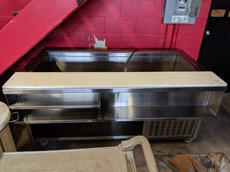 """Lot 9 - Custom Built 68"""" Self Contained Refrigerated Open Top Prep Table on Casters"""