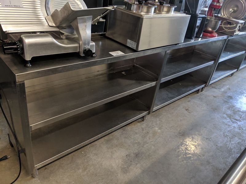 """Lot 25 - 8 ft x 15"""" Wide Custom Built 3 Tier Stainless Steel Servery Counter"""