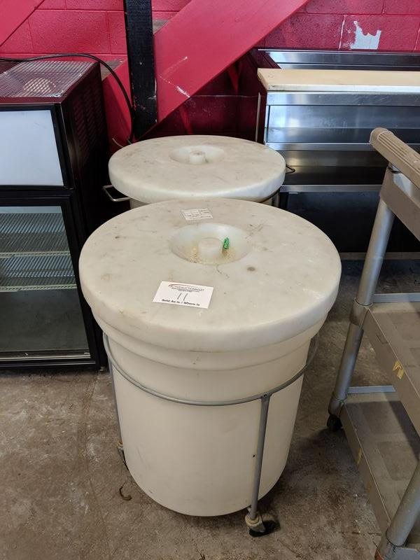Lot 11 - 2 Round Rolling Bulk Bins with Lids