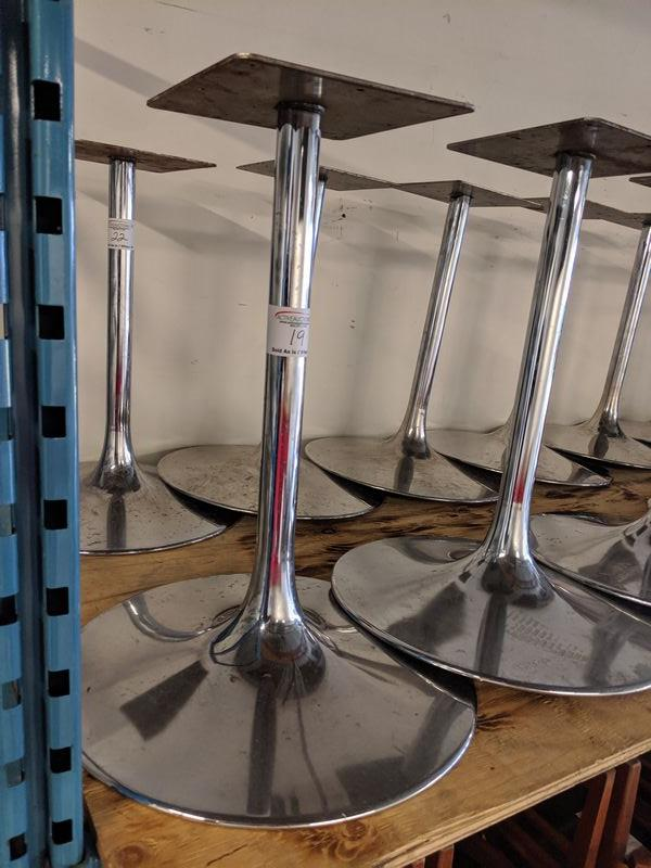 Lot 22 - 7 Chrome Trumpet Style Table Bases