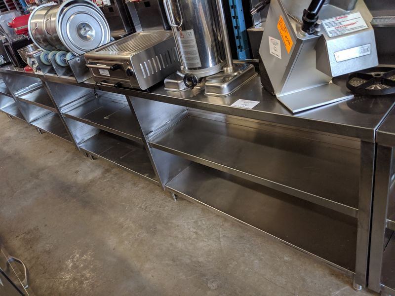 """Lot 46 - 8 ft x 15"""" Wide Custom Built 3 Tier Stainless Steel Servery Counter"""