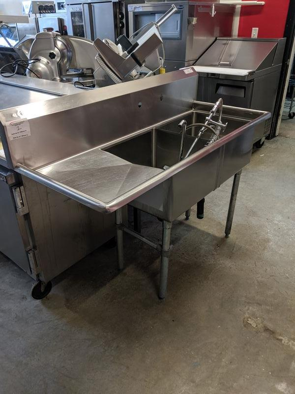 Lot 2 - 2 Compartment Sink with Left Hand Run off and Wash Wand