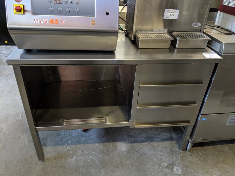 "Lot 58 - John Boos Custom Built 48"" Stainless Steel Work Table with Back Splash and 3 Drawers"