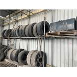 Contents of shelves to include fuel tank, various part worn tyres, lorry rims,and various other