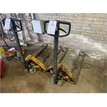 Two Rolatruck wide pallet trucks