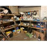 Contents of parts room to include filters, hoses, brake pads, abrasive discs, plastic panel parts,