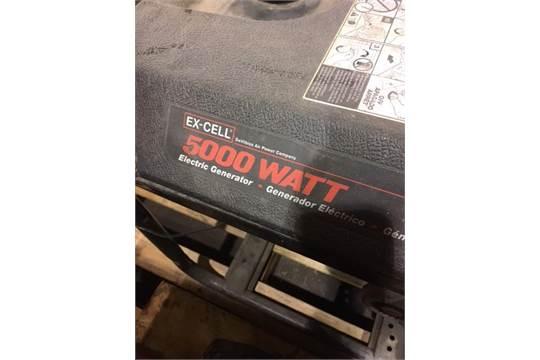 ex cell 5000 watt gas generator with briggs stratton engine