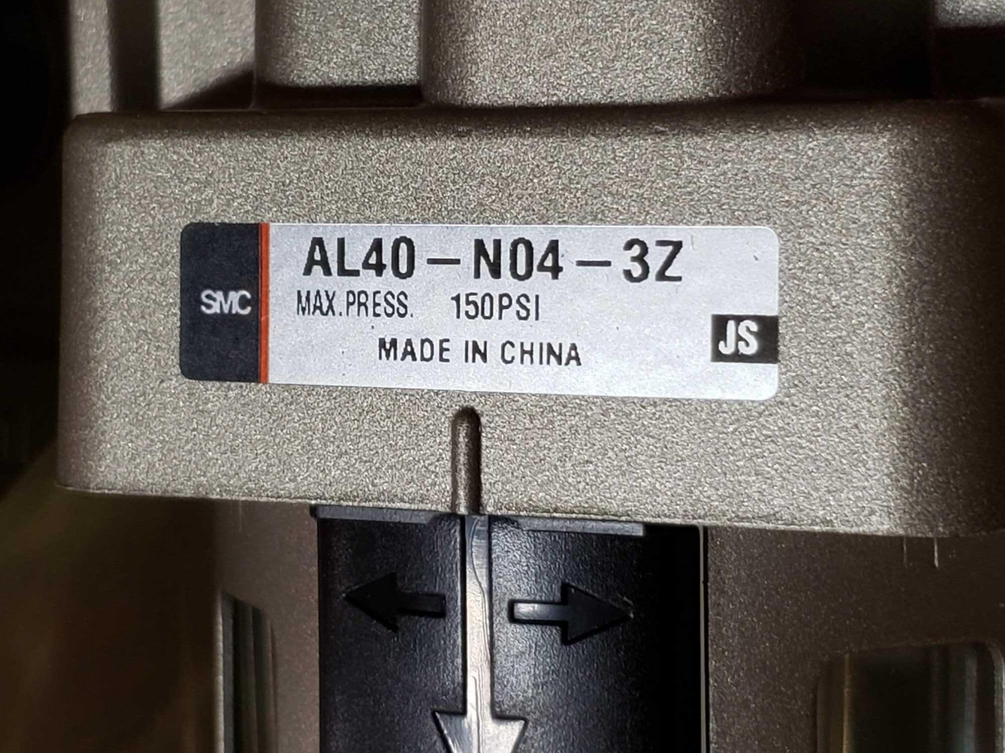 Lot 9 - Qty 3 - SMC filter housing model AL40-N04-3Z. New as pictured.