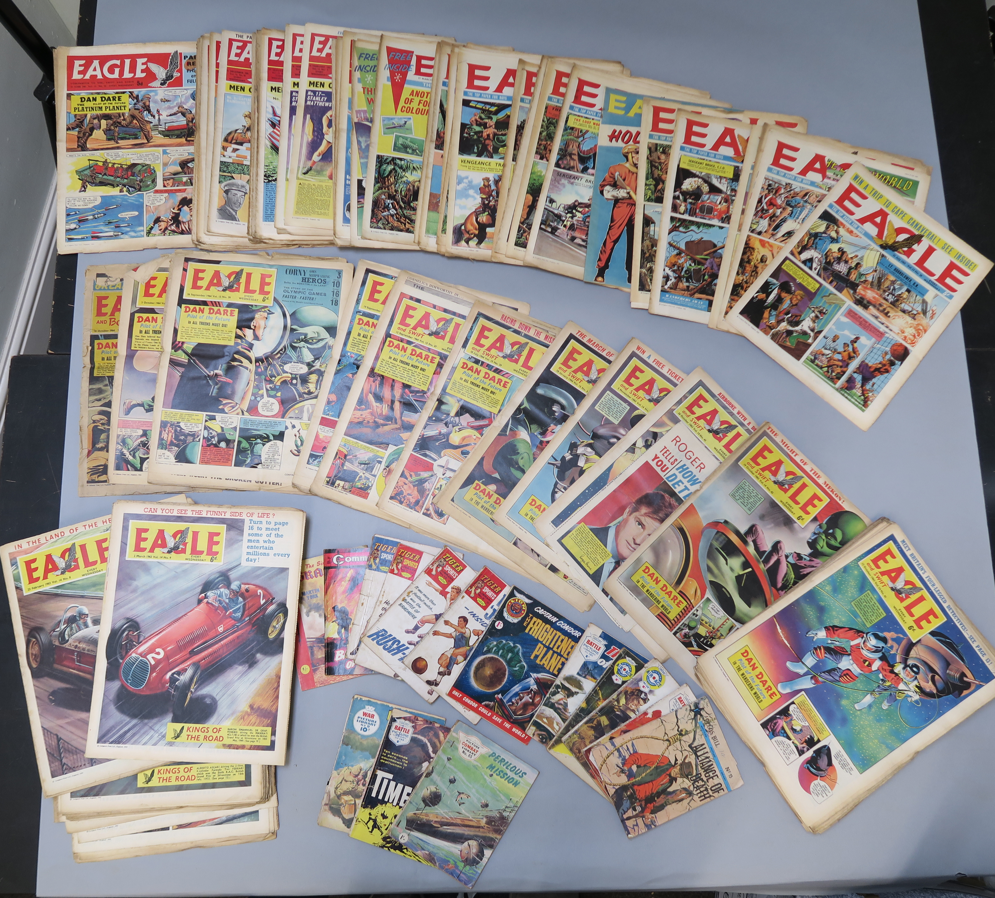 Lot 275 - Eagle comics from 24th June 1961 to 10th Oct 1964 (Eagle and Boys World) plus pocket books inc