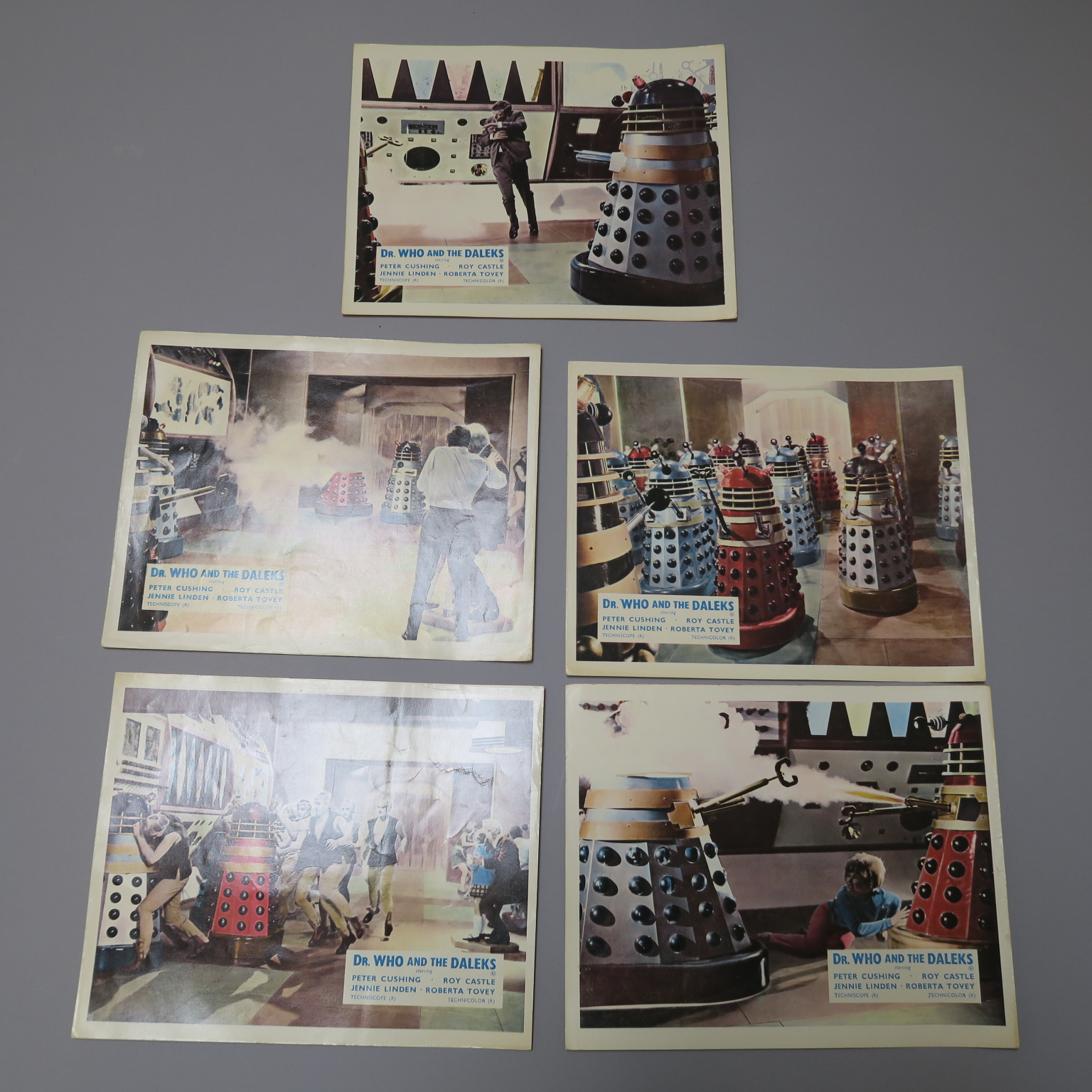 Lot 163 - Dr Who and the Daleks (1965) Five British Front of House lobby cards featuring full colour photos