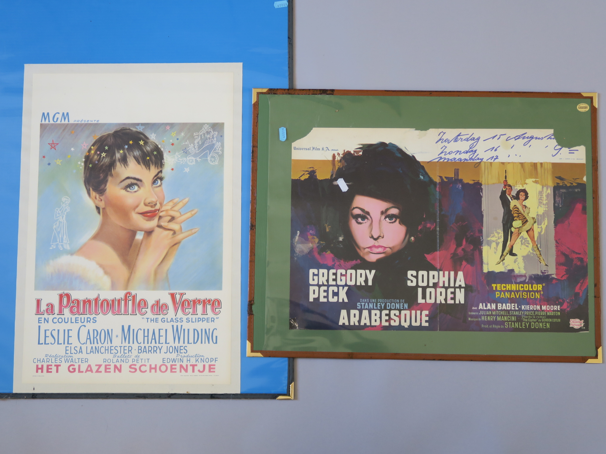 Lot 47 - 2 Selwyns browsers measuring 22 x 30 inches & 19 x 24 inches inc 5 Belgian posters linen backed