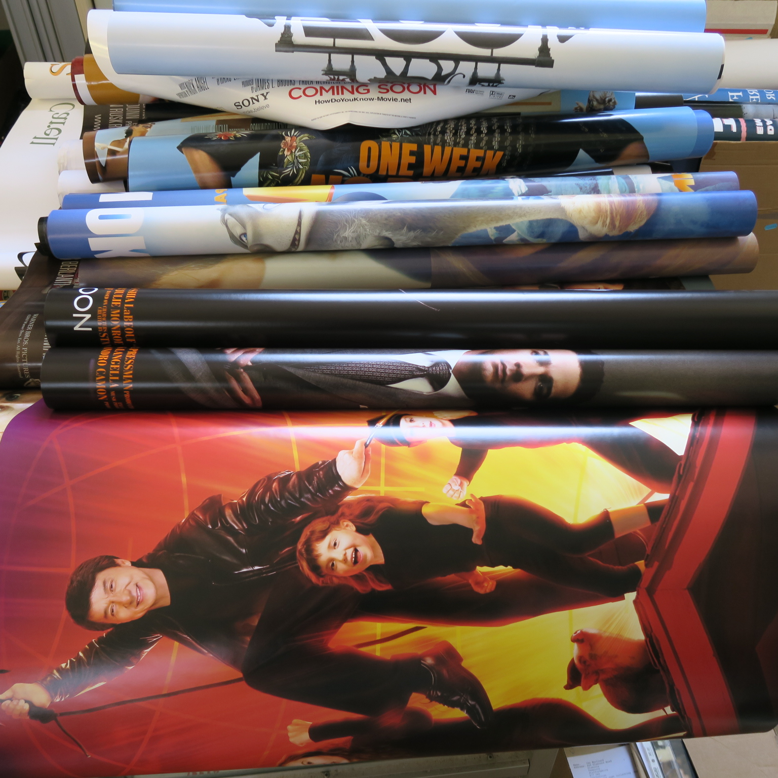 Lot 48 - Six boxes of assorted mainly rolled condition one-sheet & Quad film posters plus 2 large Joan of