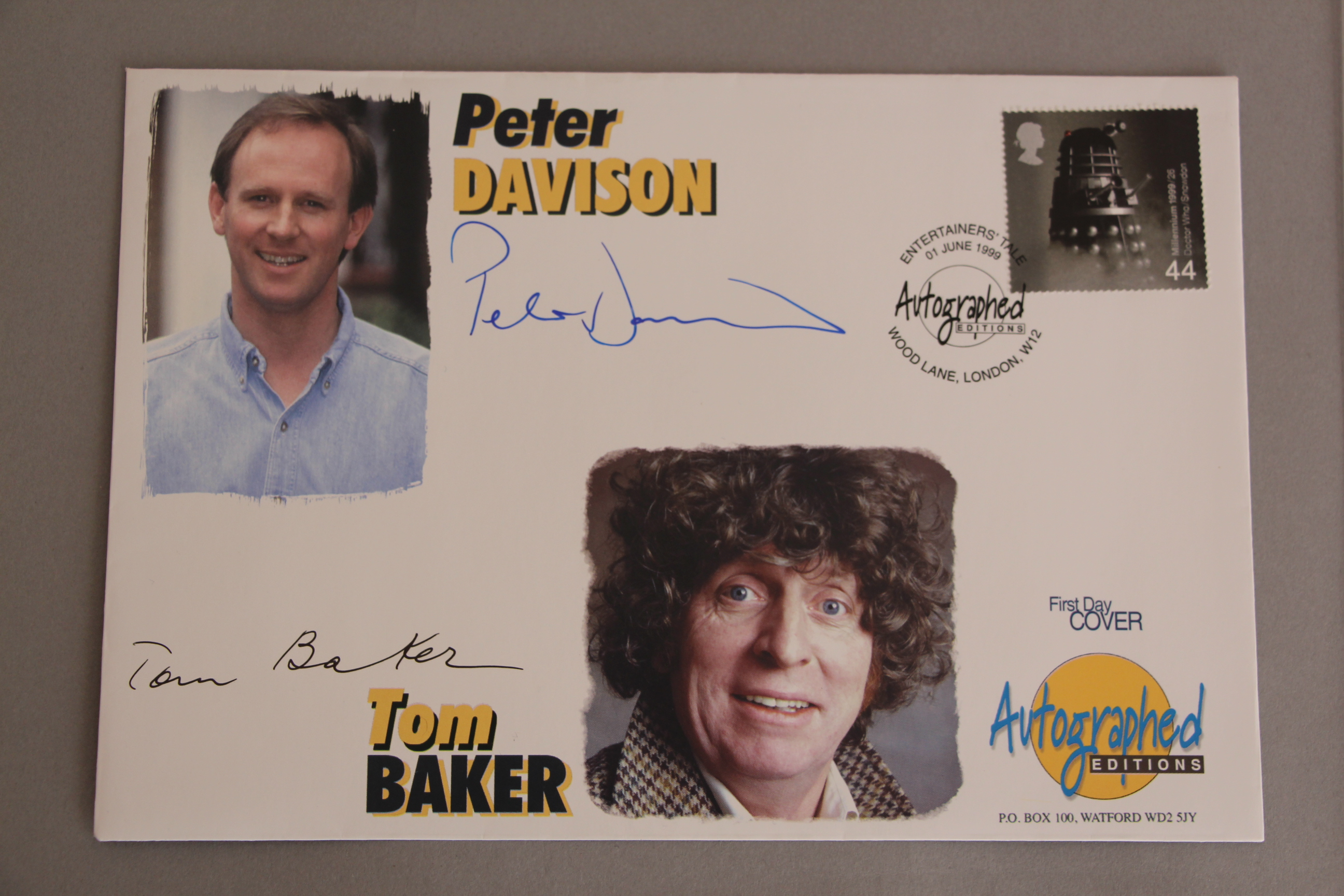 Lot 150 - Doctor Who Actors Tom Baker and Peter Davison First Day Cover stamps signed by the two actors and