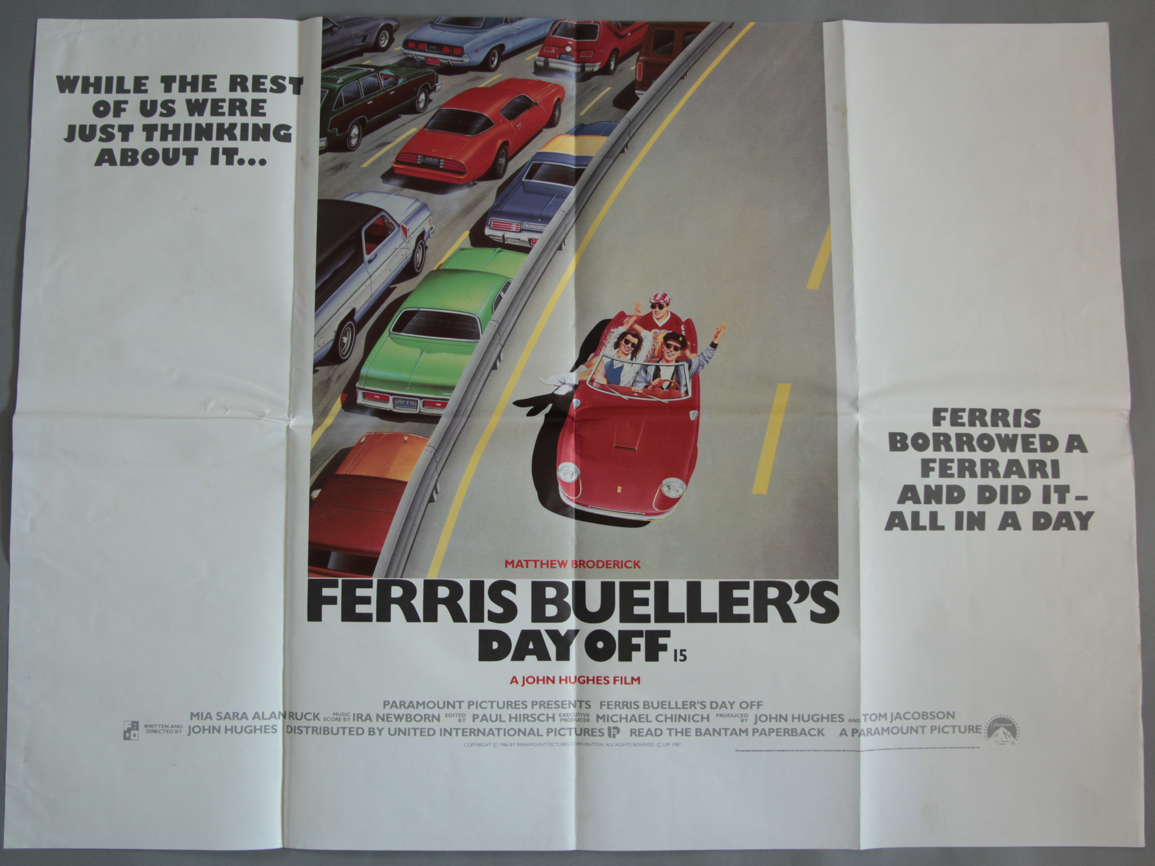 Lot 50 - Ferris Buellers Day Off Original first release British Quad film poster from 1986,