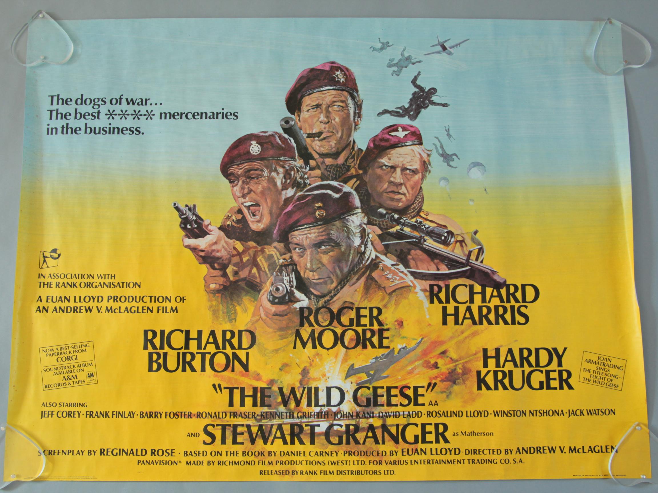 Lot 1 - Ten British Quad film posters inc The Wild Geese starring Richard Burton,