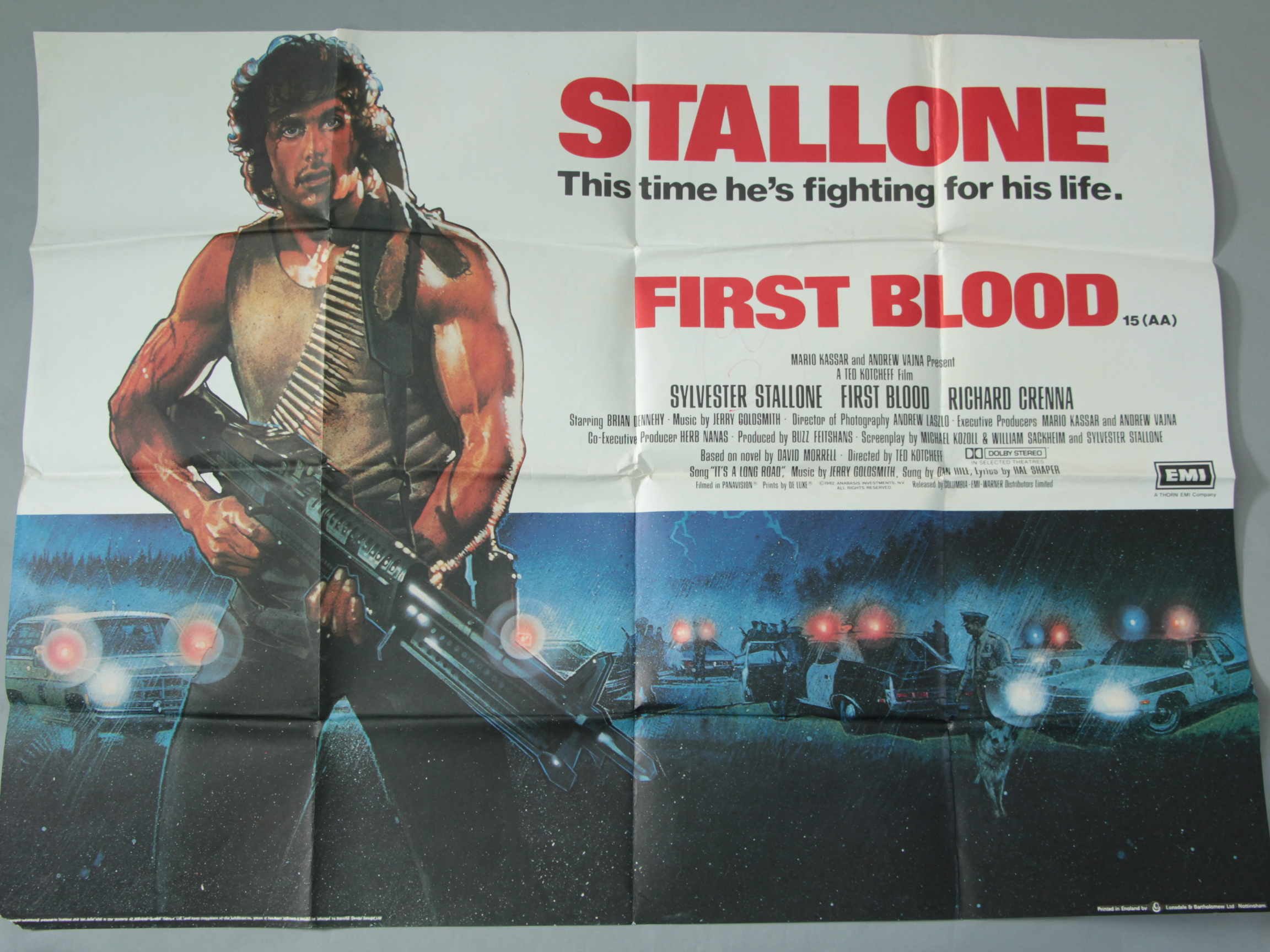 Lot 5 - First Blood 1st release 1982 UK Quad film poster 30 x 40 inch starring Sylvester Stallone,