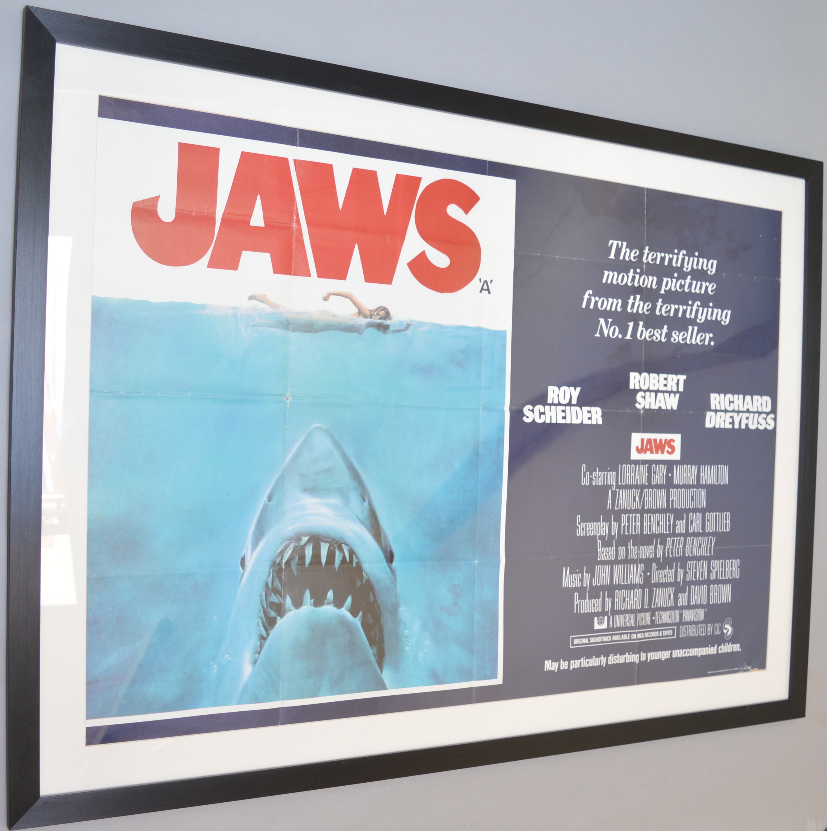 Lot 52 - Jaws Original first release 1975 British Quad film poster directed by Steven Spielberg,